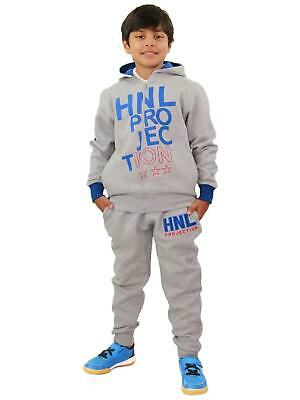 Boys Girls Tracksuit HNL Projection Print Grey Hoodie & Botom Jogging Suit 7-13Y