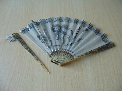 19th CENTURY ANTIQUE FOLDING HAND FAN PIERCED HAND CARVED BOVINE HORN SEQUINS