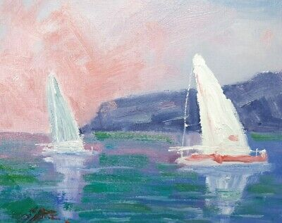Original Yatchs Sunset Boats Seascape Oil Painting Rod Moore