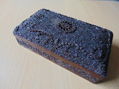 Heavily Carved Antique Wooden Box With Hinged Lid