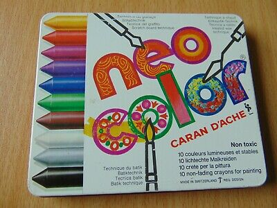 Vintage Caran D'ache Neocolor Swiss Made Painting Chalk Crayon Tin Unused