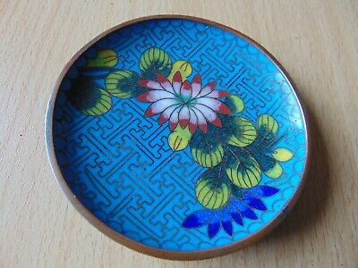 Vintage Cloisonne Asian Oriental Chinese Enamelled Dish 3.25 Inches