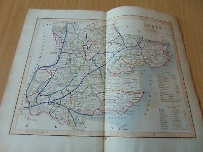 Original Antique Engraved Uk Map 1845 J Archer London Essex England