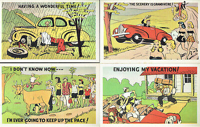 Four (4) Vintage (early 1950s) Unused Humorous 'On The Road' Cartoon Post Cards