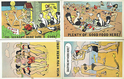 Four (4) Vintage (early 1950s) Unused Humorous 'At the Beach' Cartoon Post Cards