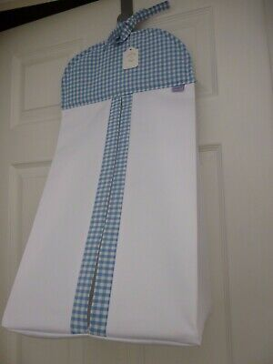 Baby Nappy Stacker - Blue/White Gingham Trim 100% Cotton - NEW BABY Gift - BNWT