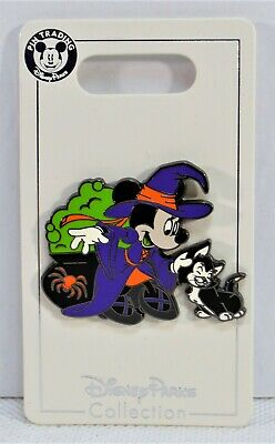 Disney Parks Exclusive 2019 Halloween Witch Minnie & Kitten Figaro Pin NEW CUTE