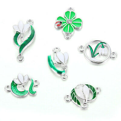 10X Mixed Green Plant Flower Alloy Enamel Charm Connectors DIY Jewelry Making