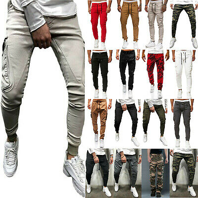 Men's Combat Cargo Stretch Trousers Work Military Security Elastic Waist Pants