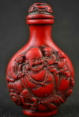 Collectibles Old Decorated Wonderful Handwork Coral Carving Buddha Snuff Bottle