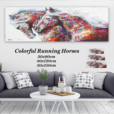 Colorful Running Horse Canvas Modern Abstract Painting Home Unframed Decor