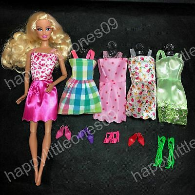 New 5x Barbie Doll Party Evening Dress /Clothes/Outfit and 5 pairs of Doll Shoes