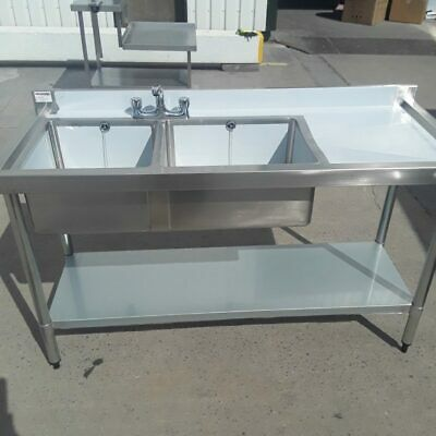 Commercial Sink Double Bowl Drainer Taps Shelf Stainless Vogue