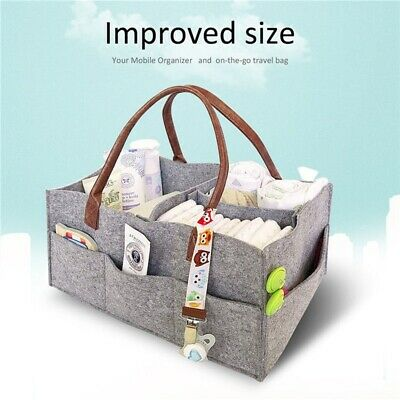 Felt Baby Diaper Caddy Nursery Storage Wipes Bag Nappy Organizer Container UK
