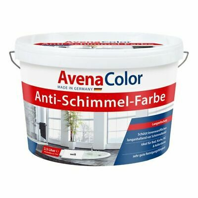€4/L AVENA COLOR Anti Schimmel Farbe 5 L WEISS Wandfarbe Bad Küche 5 Liter TOP