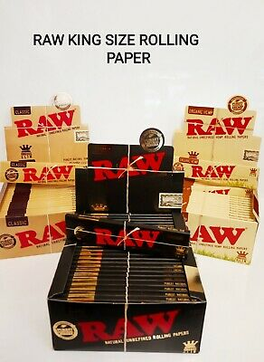 Raw King Size Rolling Papers, Classic, Black, Organic Hemp, Smoking Papers, Raw