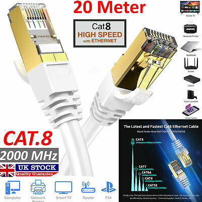 RJ45 CAT8 Ethernet Network SSTP 40 Gbps Patch Lead Cord 10M White Cable LOT UK