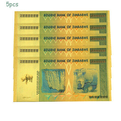 5X Gold Foil Zimbabwe 100 Quintillion Dollars Banknote World Money Collect Gift