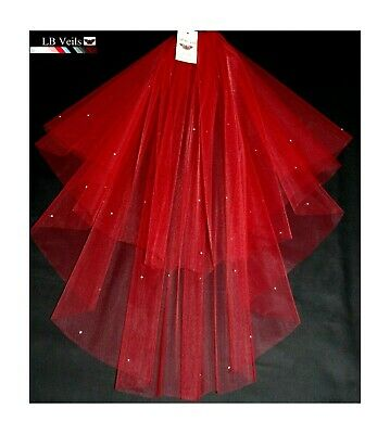 Red Crystal Wedding Veil Any Length 2 Tier Long Short Diamante LBV151 LBVeils UK