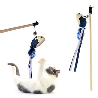 Mouse Plush Playing Feather Cat Funny Wand Teasing pet toys Ball Stick