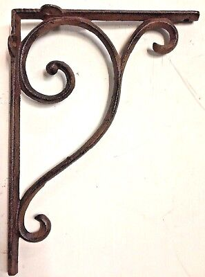 SET OF 9 LARGE RUSTIC  BROWN SCROLL BRACE/BRACKET vintage looking patina finish