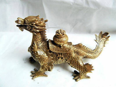 Old Chinese brass hand-carved Dragon Cornucopia statue