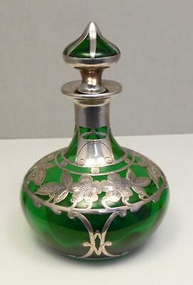 Antique Sterling Silver Overlay Emerald Green Art Nouveau Glass Perfume Cruet