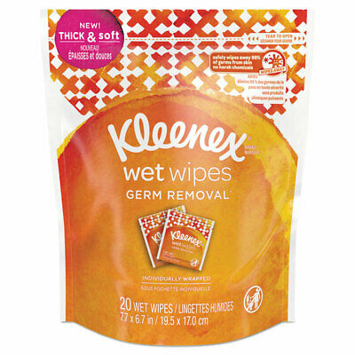 Kleenex® Wet Wipes Germ Removal for Hands and Face  White  20 Towels/Pouch  8