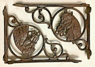 SET OF 2 WESTERN HORSE HEAD SHELF BRACKET BRACE, Rustic Brown Finish cast iron