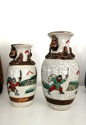 Pair of Antique Late 19th Early 20th Century Chinese Crackleware Vases