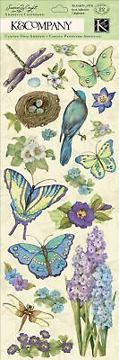 K/&Company SW BOTANICAL STITCHED ADORNMENTS Dimensional Stickers 30-614529 birds