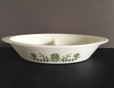 Vintage Glasbake Green Daisy J2352 Divided Oval Baking Serving Casserole Dish