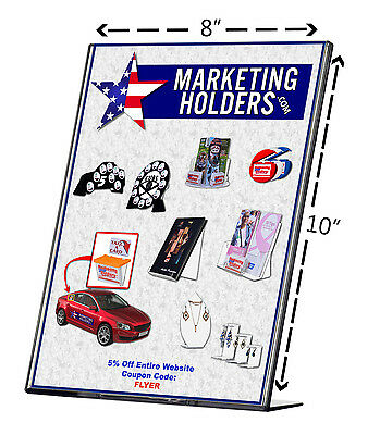 "8.5""W x 10""h Sign Holder Flyer Display Frame Slanted Table Tent TRU-VU® Qty 6"