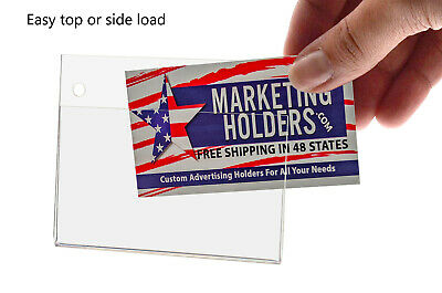"""Business Card / Small Signage Holder 3.5""""W x 2""""H Wall Mount with Mounting Holes"""