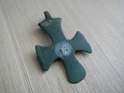 Genuine Early Byzantine Cross Pendant Bronze 6th - 7th Century