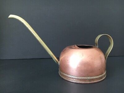 Vintage Small Copper Watering Can With Brass Loop Handle & Spout