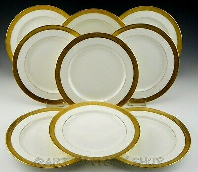 """Antique Minton England NATHAN DOHRMANN 9"""" LUNCH PLATES GOLD ENCRUSTED Set of 9"""
