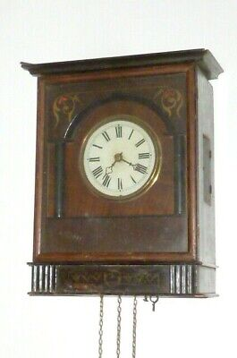 Old Biedermeier Black Forest Clock Wall Watch Regulator Holzplatinenuhrwerk