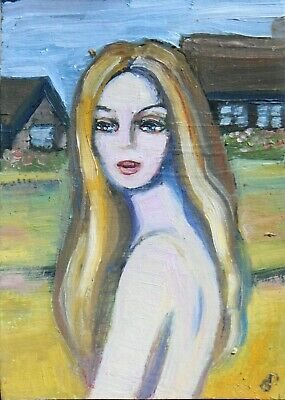 ACEO  painting Young woman at the old house, figure Dora Pilssala ORIGINAL