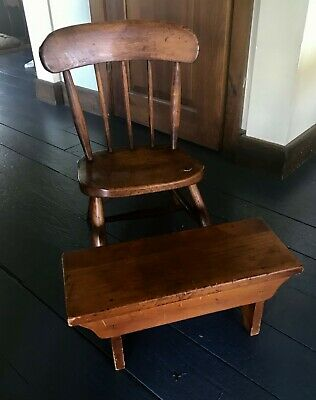 "Antique 19th Cent Child's Chair and Foot Stool or Bench 20"" High Nice Condition"