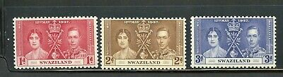 Swaziland Coronation Of George Vi 1937 Sc# 24-26 Mint Nh As Shown