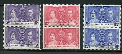 Mauritius Coronation Of George Vi 1937 Sc# 208-10 Mint Nh Pairs As Shown