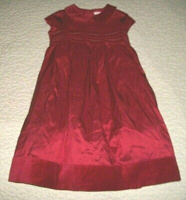 Janie & Jack Red Silk S/S Smocked Special-occasion Dress - Size 6