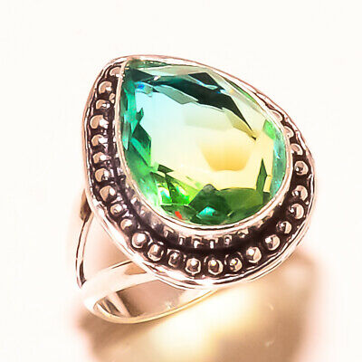 Faceted Multi Tourmaline Gemstone 925 Sterling Silver Ring Size 9.2 2426