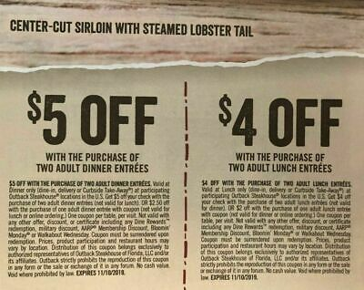 4 Sheets Outback Steakhouse Coupons 🥩 🥔  Expire 9/29/19