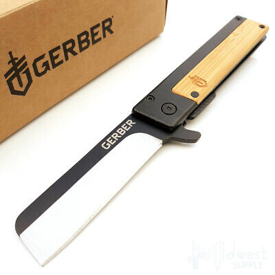 "Gerber Quadrant Folding Pocket Knife 2.7"" 7Cr17MoV Stainless, Bamboo Wood Inlay"