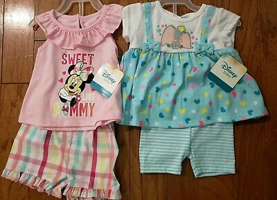 Disney Baby LOT of 2 Dumbo Minnie Mouse 2 piece baby outfit borh NWT