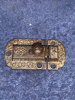 Antique Victorian Ornate Eastlake Cabinet Cupboard Latch Lock Slide