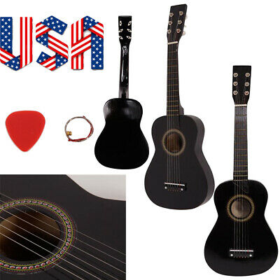 Black Wooden Acoustic Guitar Beginner Guitar Playing Instrument Portable Gifts