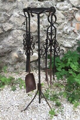 Antique French Fire Tools Tongs Shovel Stand Snuff Poker Hand Made Wrought Iron